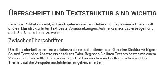 Beispiel für strukturierten Text
