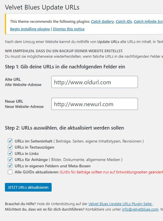Velvet Blues Update URLs Plugin für WordPress